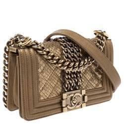 Chanel Gold Snakeskin and Leather Small Chain Boy Flap Bag