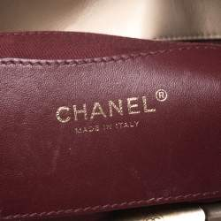 Chanel Beige Quilted Crackled Leather Medium Just Mademoiselle Bowling Bag