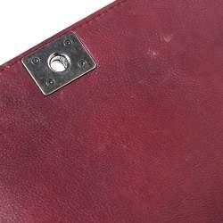 Chanel Burgundy Leather Small Reverso Boy Bag