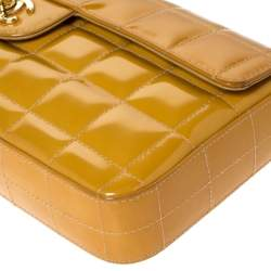 Chanel Mustard Chocolate Bar Quilted Patent Vinyl East West Flap Bag