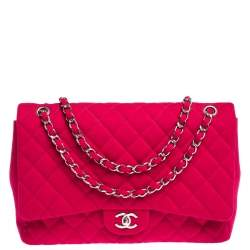 Chanel Magenta Quilted Jersey Maxi Classic Single Flap Bag