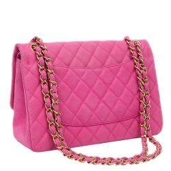 Chanel Pink Caviarskin Quilted Leather Large Classic Shoulder Bag