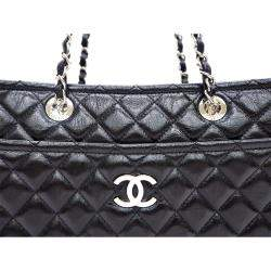 Chanel Black Quilted Patent Leather Chain Tote Bag