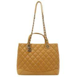 Chanel Yellow Quilted Leather Shopping Tote Bag