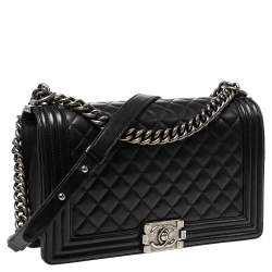 Chanel Black Quilted Leather New Medium Boy Bag