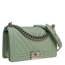 Chanel Light Green Chevron Leather Medium Boy Flap Bag