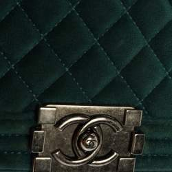 Chanel Dark Green Velvet Small Boy Flap Bag