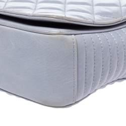 Chanel Powder Blue Diamond Quilted Chevron Leather CC Flap Bag