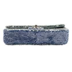 Chanel Two Tone Blue Sequins CC Flap Bag