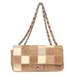 Chanel Beige/White Mixed Patchwork Leather East West Flap Bag