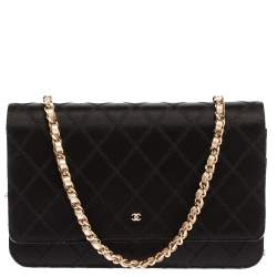 Chanel Black Quilted Satin CC Flap Wallet On Chain