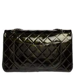 Chanel Green Quilted Patent Leather Reissue 2.55 Classic 227 Flap Bag