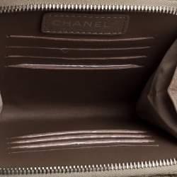 Chanel Beige Shimmer Python Zip Around Square Chain Bag