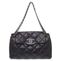 Chanel Black Wild Stitch Quilted Leather Hampton Bag