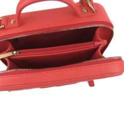 Chanel Red Caviar Leather CC Filigree Vanity Case