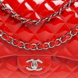 Chanel Orange Quilted Patent Leather Jumbo Classic Double Flap Bag