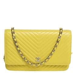 Chanel Yellow Chevron Leather Wallet on Chain