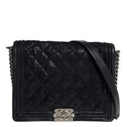 Chanel Black Quilted Crackled Nubuck Leather Large Boy Bag