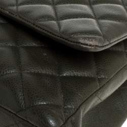 Chanel Olive Green Quilted Caviar Leather Maxi Classic Double Flap Bag