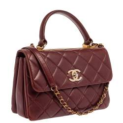 Chanel Red Quilted Leather Small Trendy CC Flap Top Handle Bag