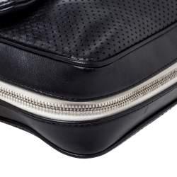 Chanel Black Perforated Leather Medium Baseball Spirit Flap Bag