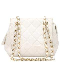 Chanel White Caviar Leather Shoulder Bag