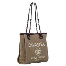 Chanel Large Brown Deauville Tote Bag