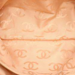 Chanel Pink Leather CC Raffia Bag