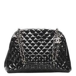 Chanel Black Patent Leather Large Just Mademoiselle Large Bag