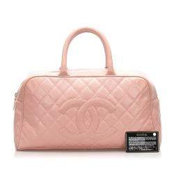 Chanel Pink Leather Timeless Bowler Large Bag
