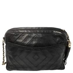 Chanel Dark Blue Diamond Quilted Leather CC Camera Tassel Bag