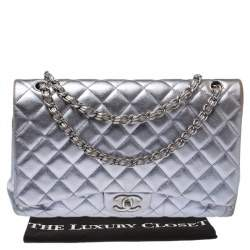 Chanel Metallic Pale Purple Quilted Leather Maxi Classic Double Flap Bag