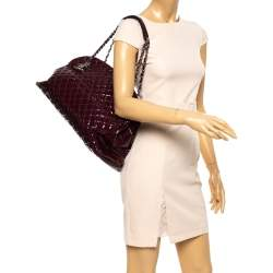 Chanel Burgundy Quilted Patent Leather Large Just Mademoiselle Bowler Bag