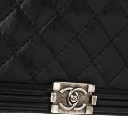Chanel Black Quilted Leather Large Wild Stitch Boy Bag