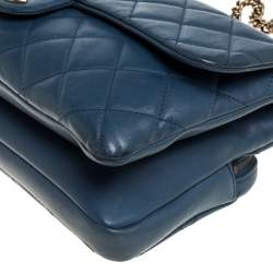 Chanel Blue Quilted Leather Zip Back Pocket Flap Bag