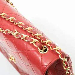 Chanel Red Lambskin Leather Vinatage Single Flap Bag