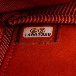 محفظة بسلسلة شانيل كلاسيكية جلد برتقالية