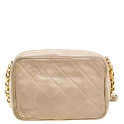 Chanel Beige Quilted Leather Vintage CC Tassel Camera Bag