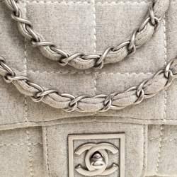Chanel Light Grey Square Quilt Fabric Sport Line Flap Bag