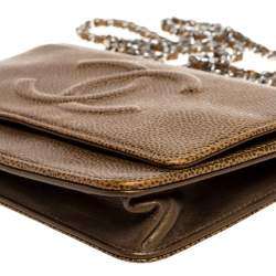 Chanel Gold Caviar Leather CC Timeless Wallet On Chain
