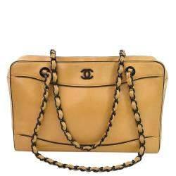 حقيبة شانيل فينتدج رزين جلد بيج متوسطة