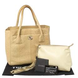 Chanel Cream Python Executive Cerf Tote
