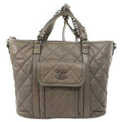 Chanel Black Quilted Leather Shopping Large Tote Bag
