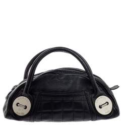 Chanel Black Caviar Leather Button Dome Satchel