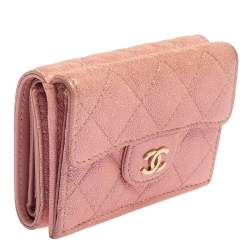 Chanel Pink Caviar Quilted Leather Trifold Flap Wallet