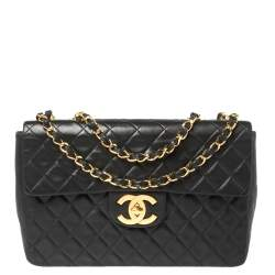 Chanel Black Quilted Leather Vintage Maxi Single Flap Bag