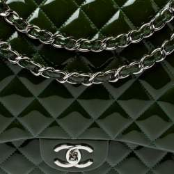 Chanel Metallic Olive Green Quilted Patent Leather Maxi Classic Double Flap Bag