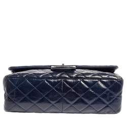Chanel Blue Quilted Patent Leather Jumbo Reissue 2.55 Classic 227 Flap Bag