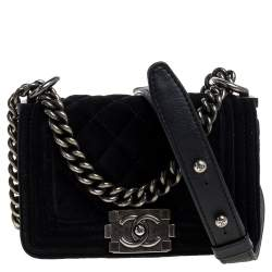 Chanel Black Quilted Velvet Mini Boy Flap Bag