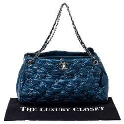 Chanel Blue Tweed Stitch Quilted Bubble Nylon Tote